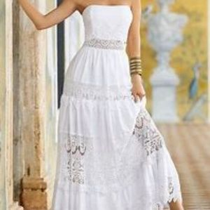 Boston Proper white strapless maxi dresd